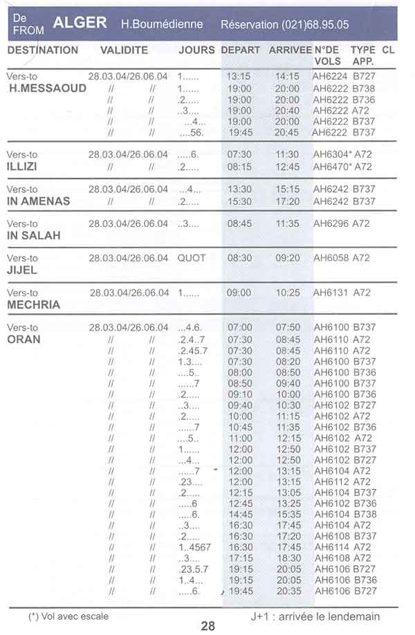 Horaires d 39 air algerie for Air madagascar vol interieur horaire